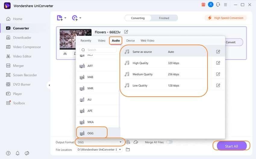 start to convert MOV to OGG by Wondershare Audio Converter
