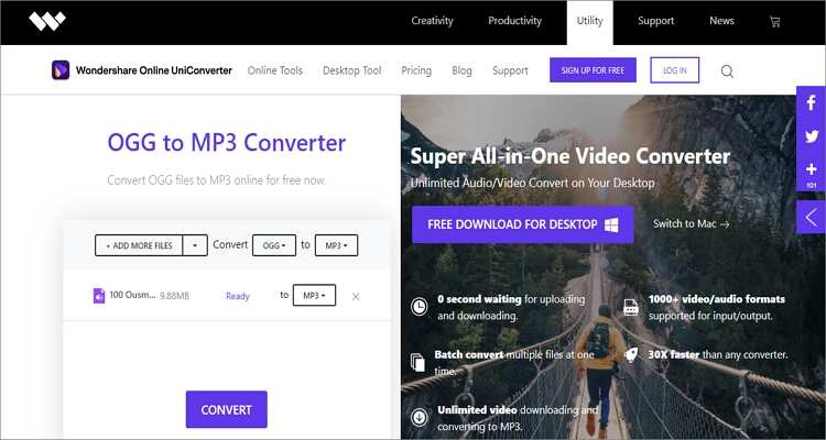 Free Online OGG to MP3 Converter - Online UniConverter