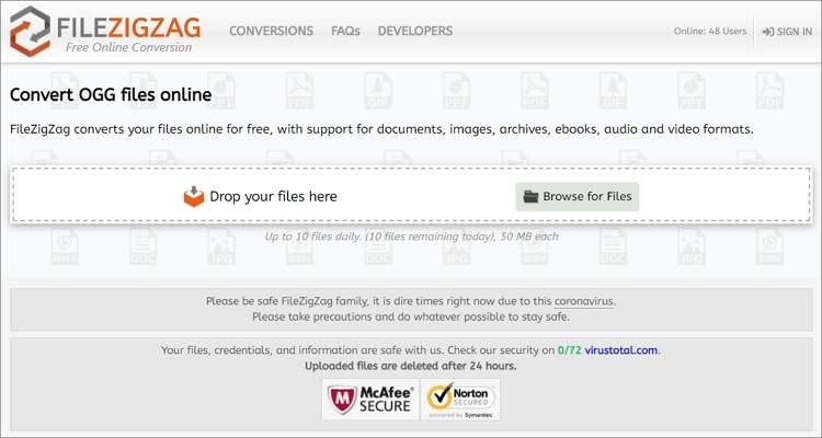 OGG Audio Online Converter - FileZigZag