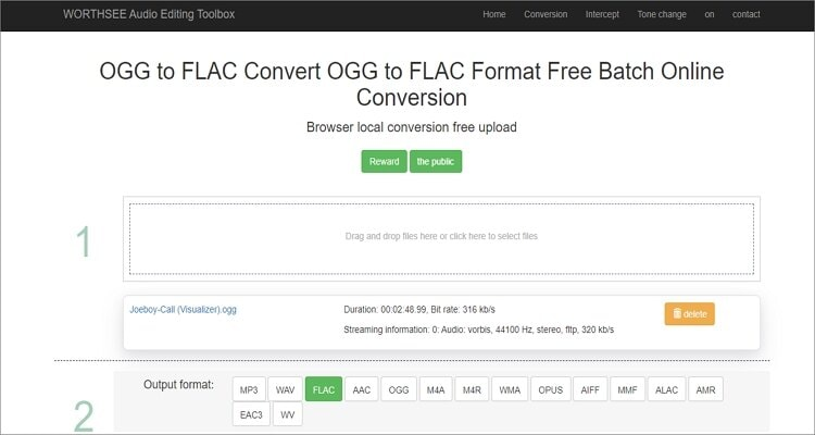 OGG to FLAC Online Converter - WORTHSEE Audio Editing Toolbox