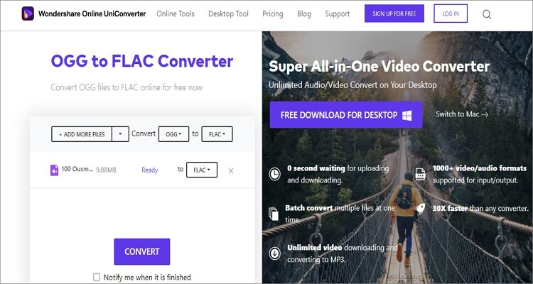 OGG to FLAC Online Converter - Online UniConverter