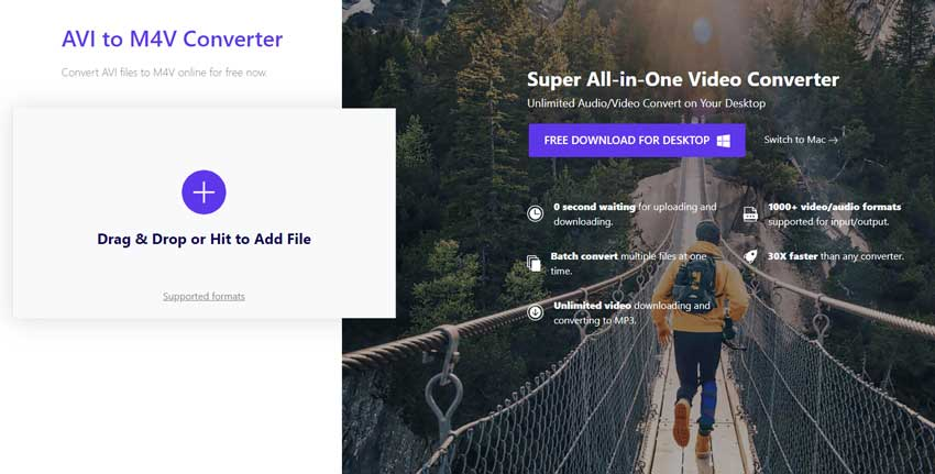 convert AVI to M4V by Wondershare Online AVI to M4V Uniconverter