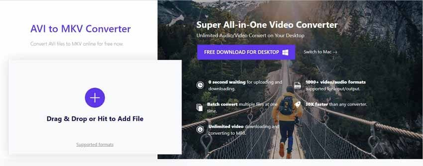 convert AVI to MKV by Wondershare AVI to MKV Online Converter