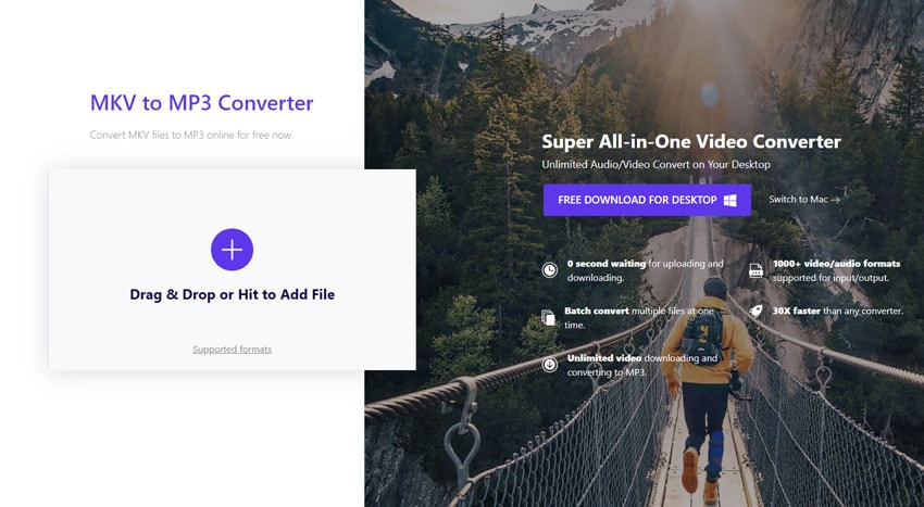 convert MKV to MP3 by Online MKV to MP3 Uniconverter