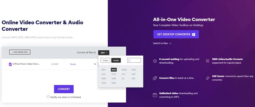 convert mp3 to wav format online