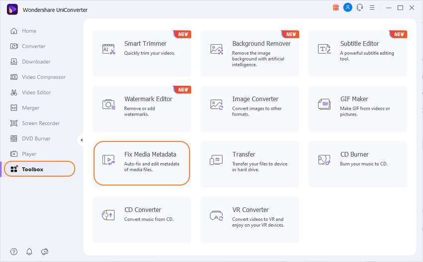 Open the Fix Video Metadata tool in UniConverter