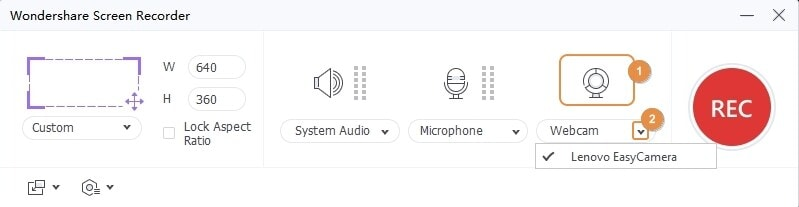 select the webcam and microphone