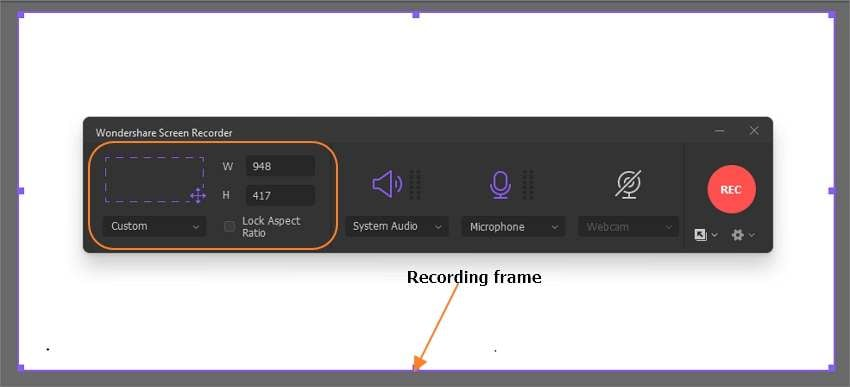 Select a screen area to record