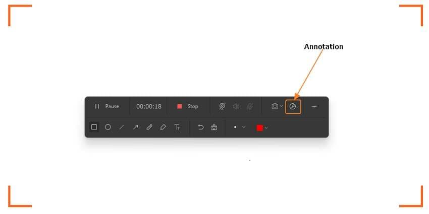 Start recording a video with annotations