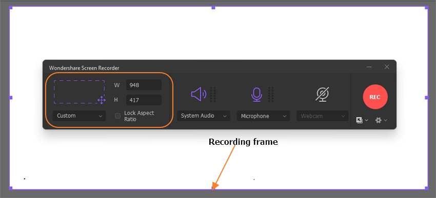Customize the recording area