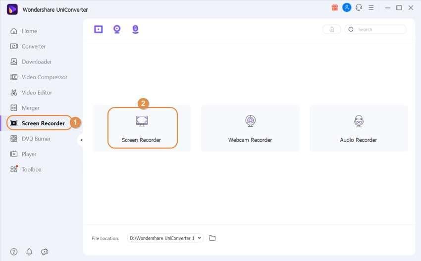 Open the Wondershare Screen Recorder Tool