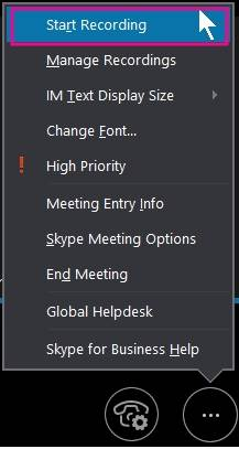 Open the Skype business call