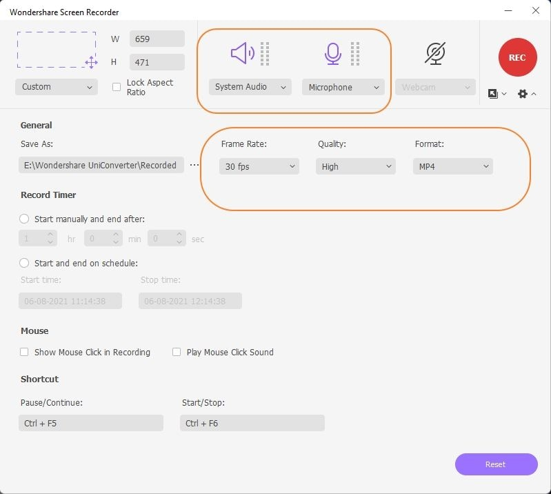 Select audio and other settings