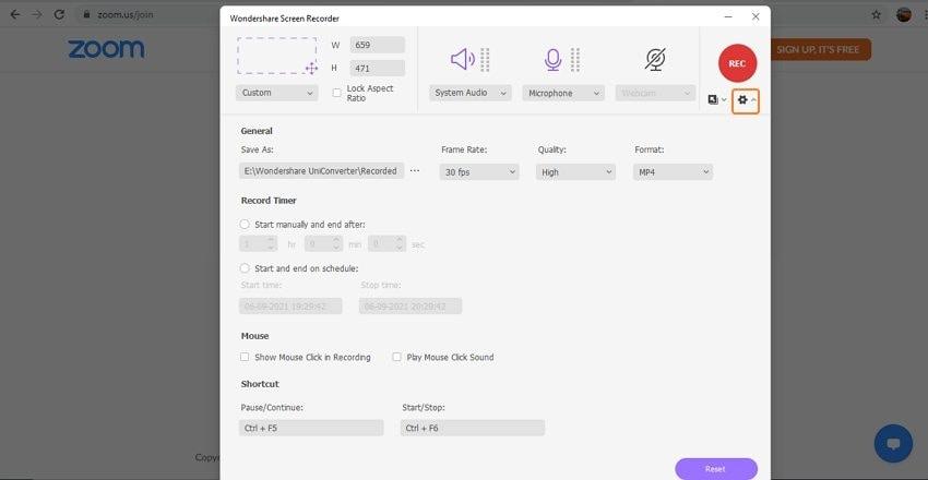 Choose recording settings