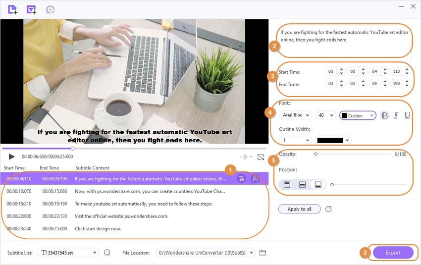 convert mkv to mp4 with subtitle - edit subtitle by Wondershare Subtitle Editor