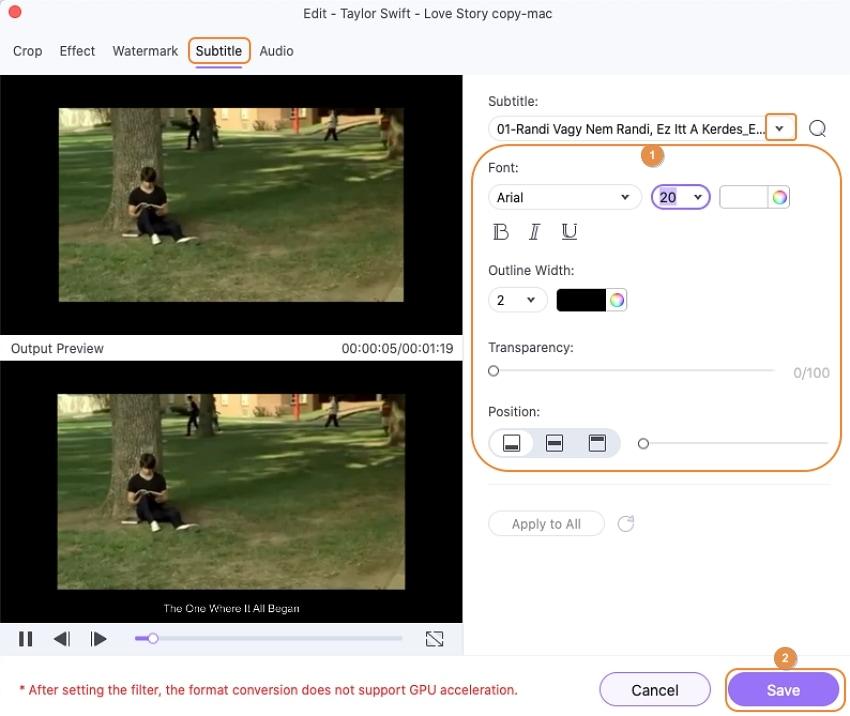 adjust the subtitle settings