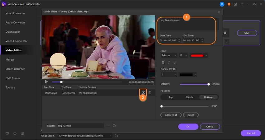 create subtitles by subtitle tool
