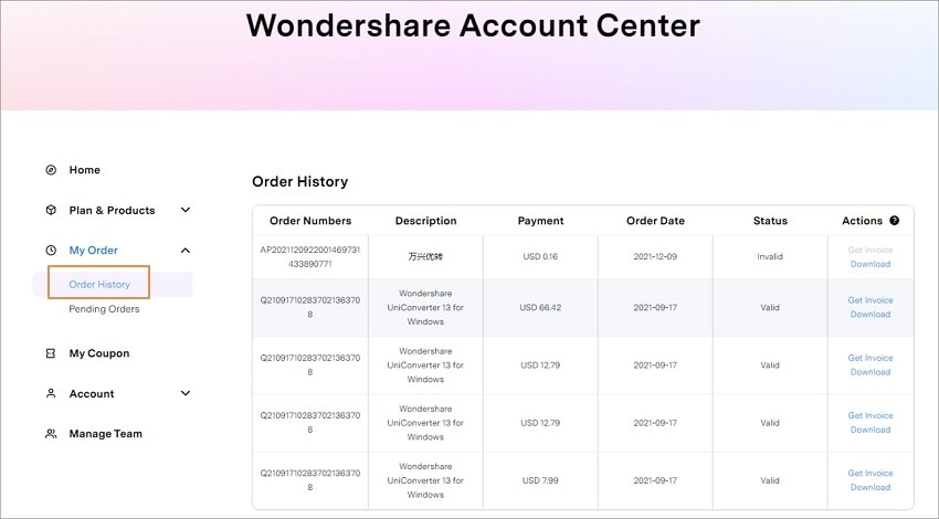 UniConverter order information