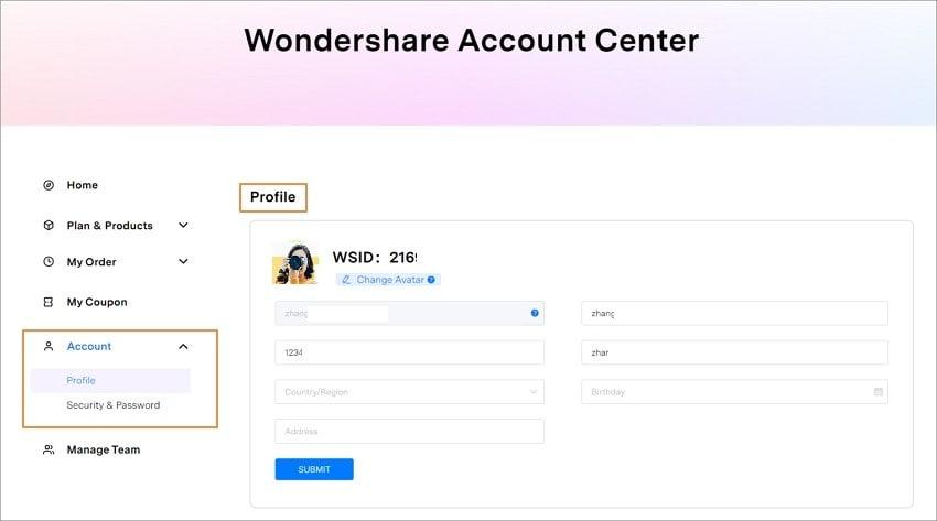 UniConverter account profile