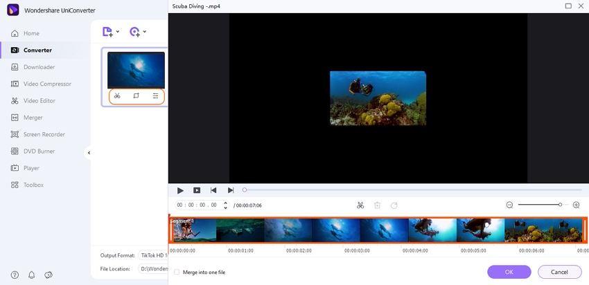 edit files by Wondershare TikTok Converter