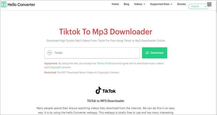 Free TikTok MP3 Converter Apps - Hello Converter