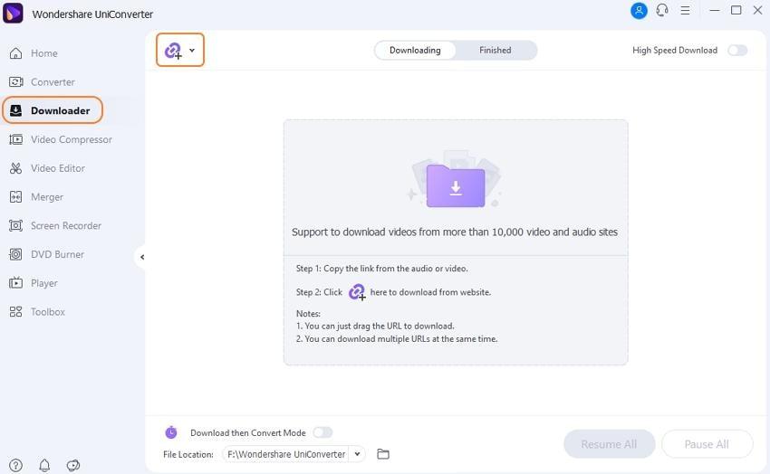 Launch Wondershare Downloader