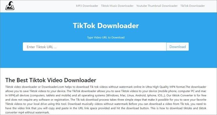Save TikTok Videos in Photo Gallery Online Free - Downloaderi.com