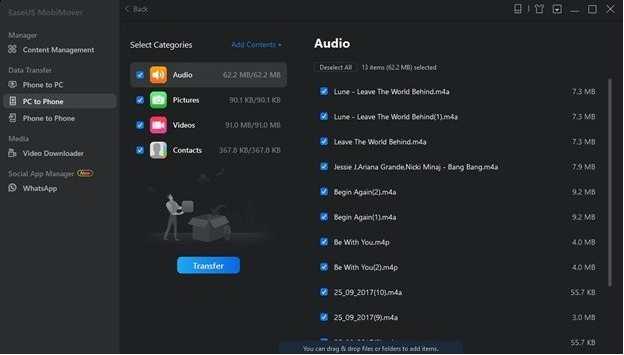 iPod Music Transfer - EaseUs MobiMover