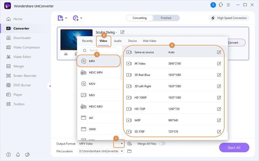 TRP in MP4 unter Windows/Mac umwandeln - Schritt 2: Format auswählen