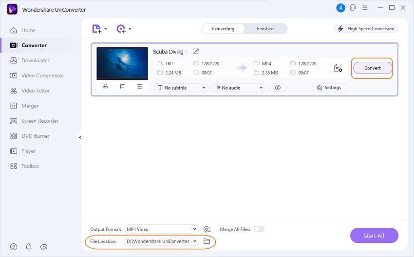 TRP in MP4 unter Windows/Mac umwandeln - Schritt 3: TRP-Dateien in das MP4-Format konvertieren