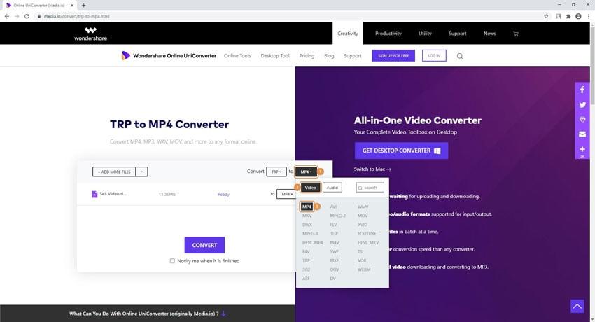 TRP in MP4 online kostenlos umwandeln - Schritt 2: Wählen Sie das Ausgabeformat