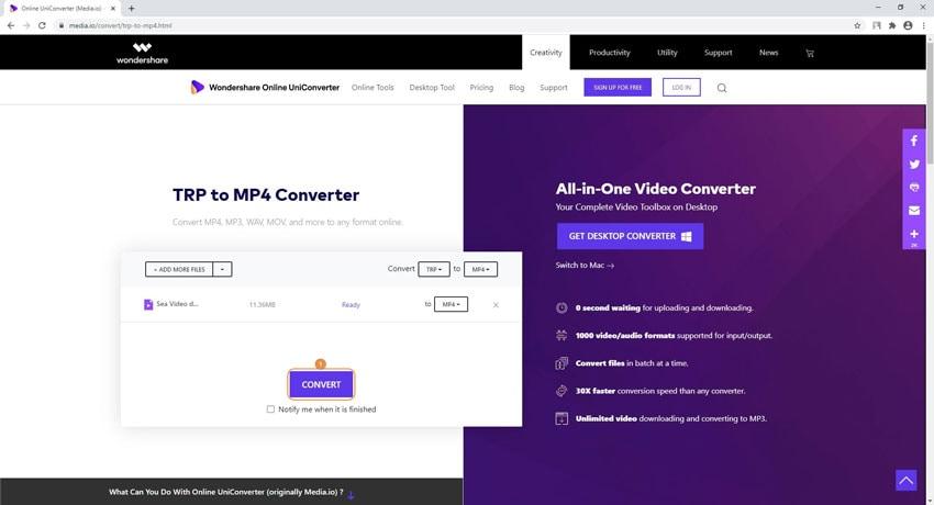 TRP in MP4 online kostenlos umwandeln - Schritt 3: Konvertieren und herunterladen