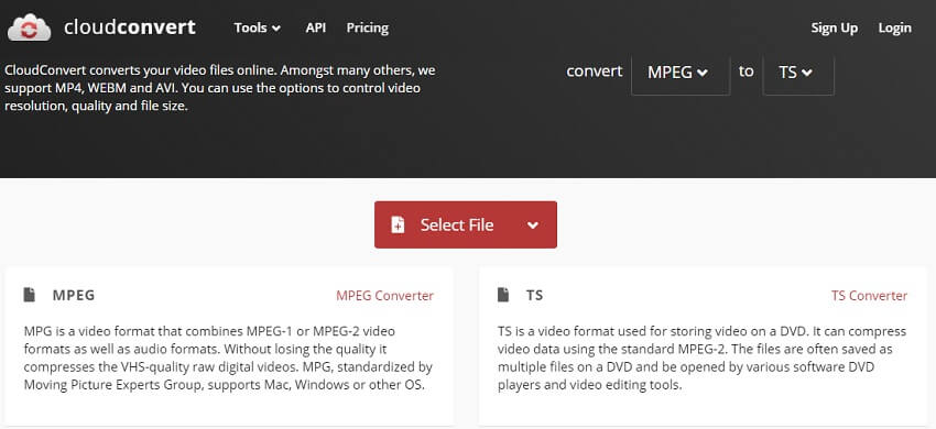 Convert MPEG to TS with CloudConvert