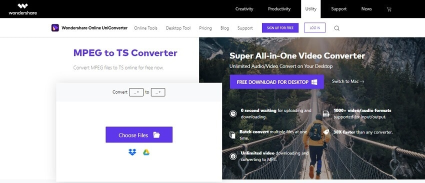 Convert MPEG to TS with Online UniConverter