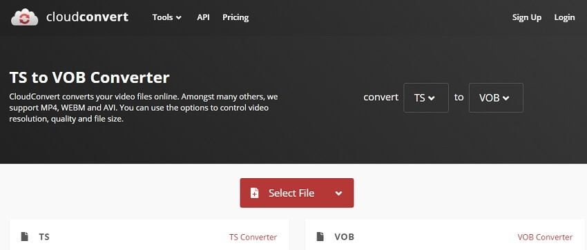 Convert TS to VOB with CloudConvert