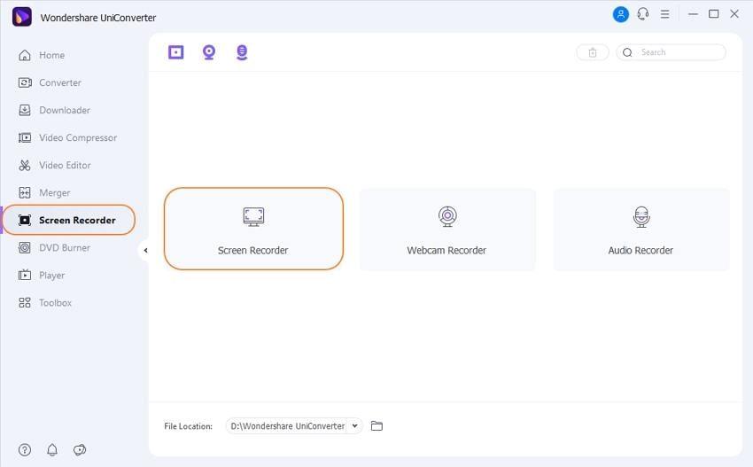 Launch Wondershare Screen Recorder