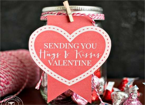 Hugs & Kisses Mason Jar Valentines