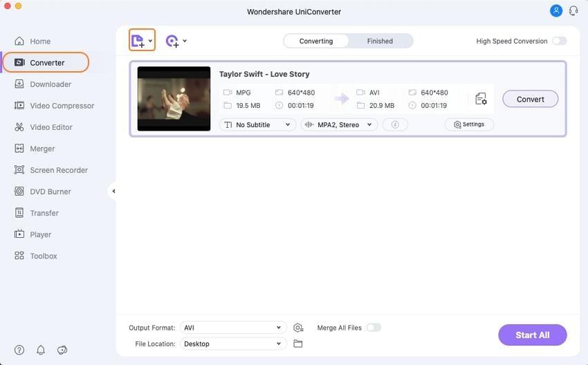 Load MPG files for Wondershare MPG converter