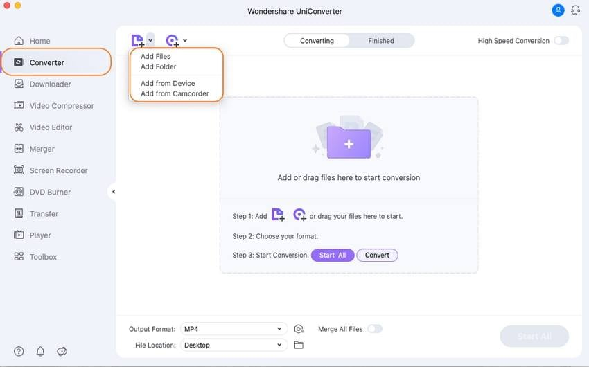 Convert WMA FIles - Start UniConverter