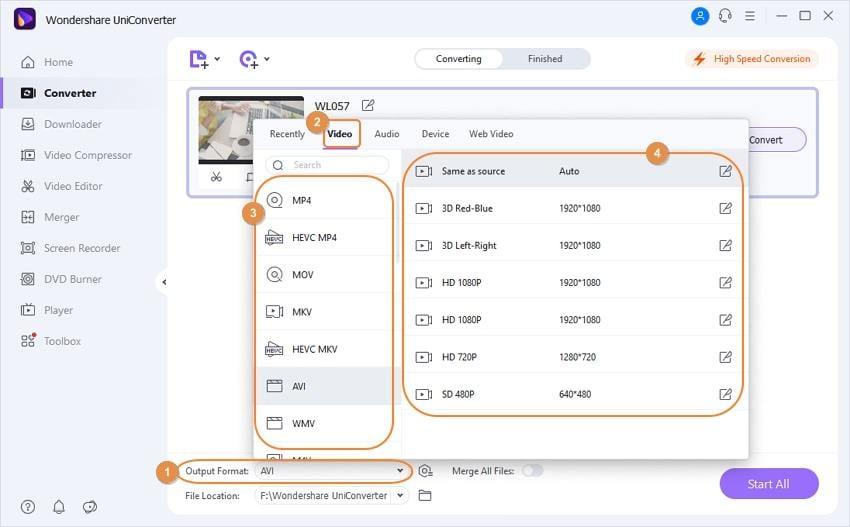 choose output formats - AVI cutter