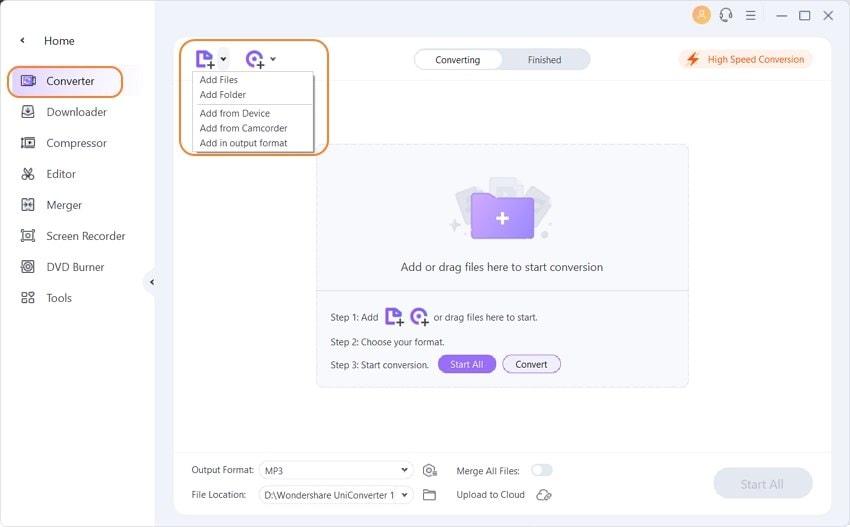 open video compressor to add files
