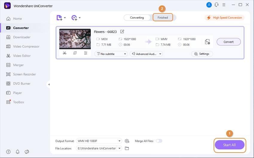 start MOV to Windows Media Player conversion