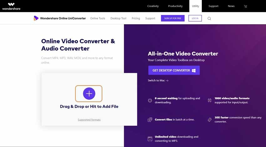Add files to the best online video converter