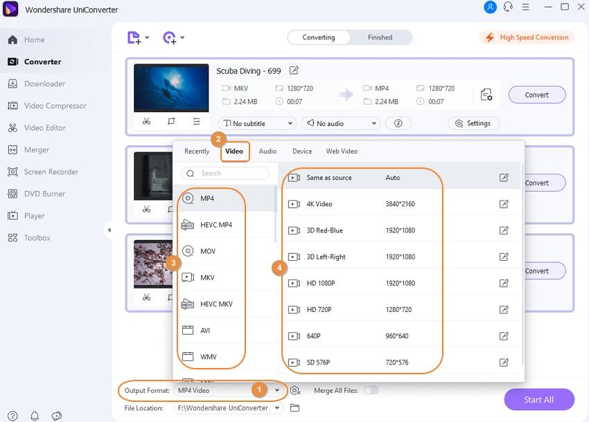 choose output format for added videos