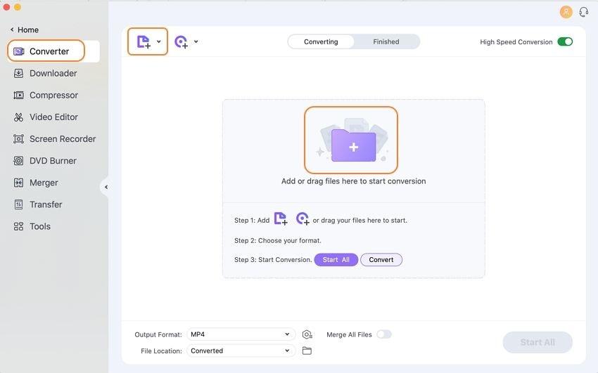 add VOB file to Wondershare VOB player on Mac