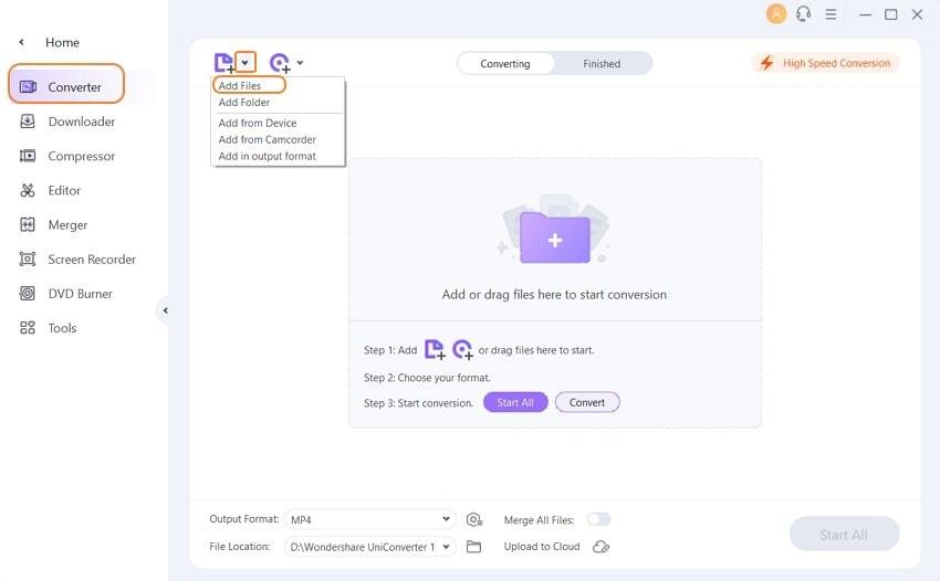 add VOB file to Wondershare VOB player