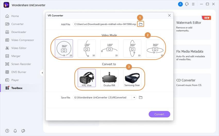 Select VR as an output