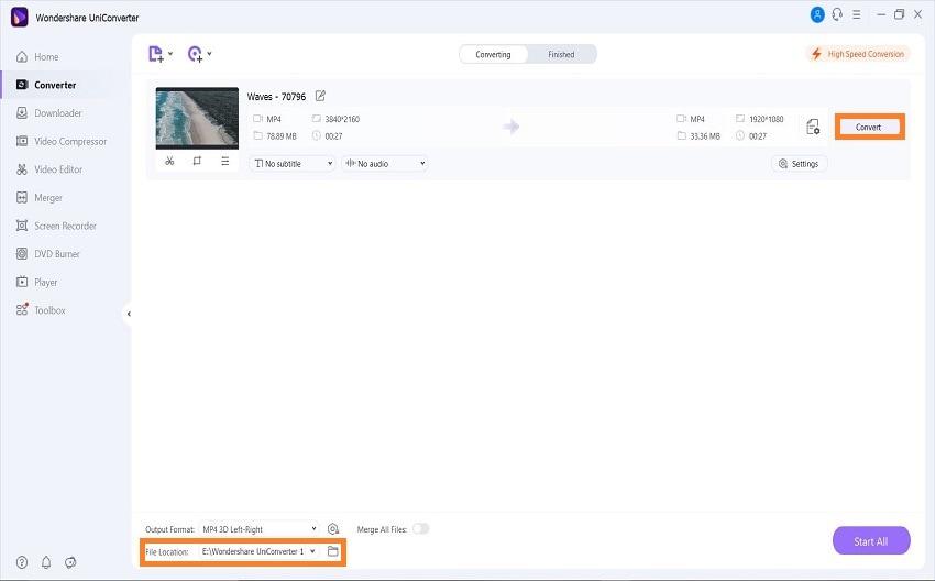 uniconverter convert 3d video