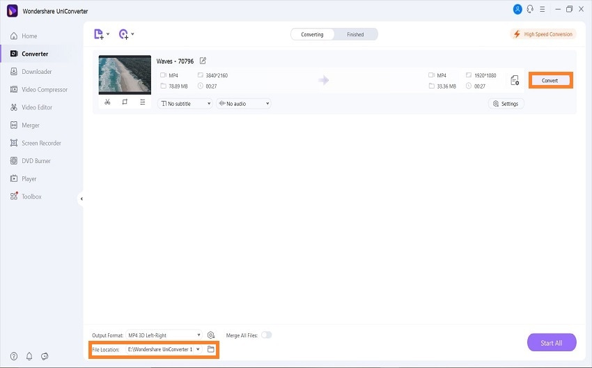 uniconverter convert video to 3d