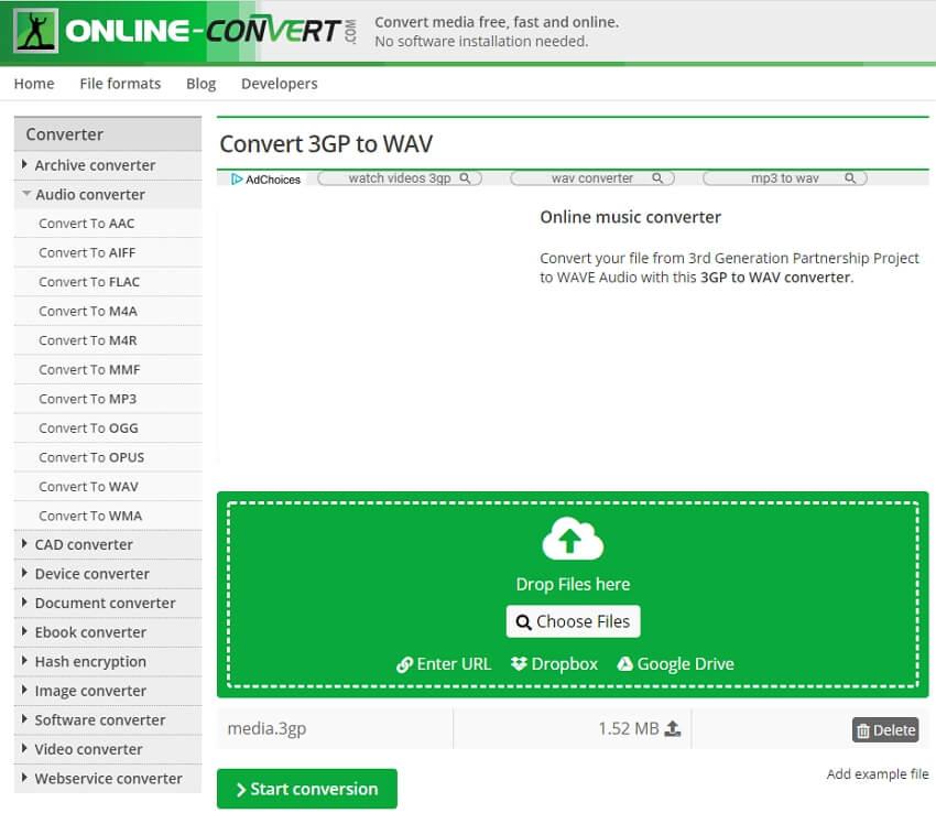 Convert 3GP to WAV online - Online Converter